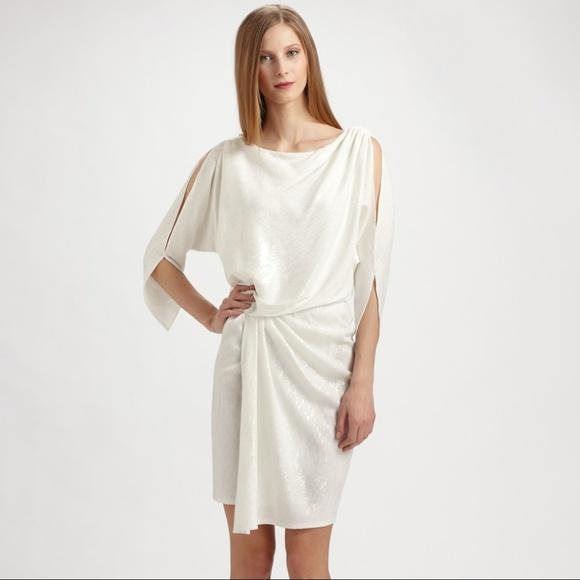 David Meister Dresses   White Sequin Draped Dress   Poshmark